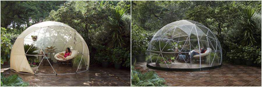 Garden iglo kuppel med og uden skygge