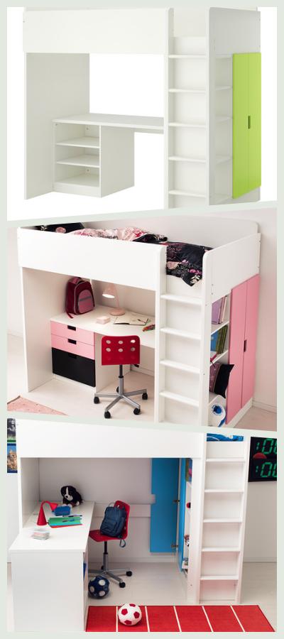 Et møbel med seng, skriveborg og klædeskab